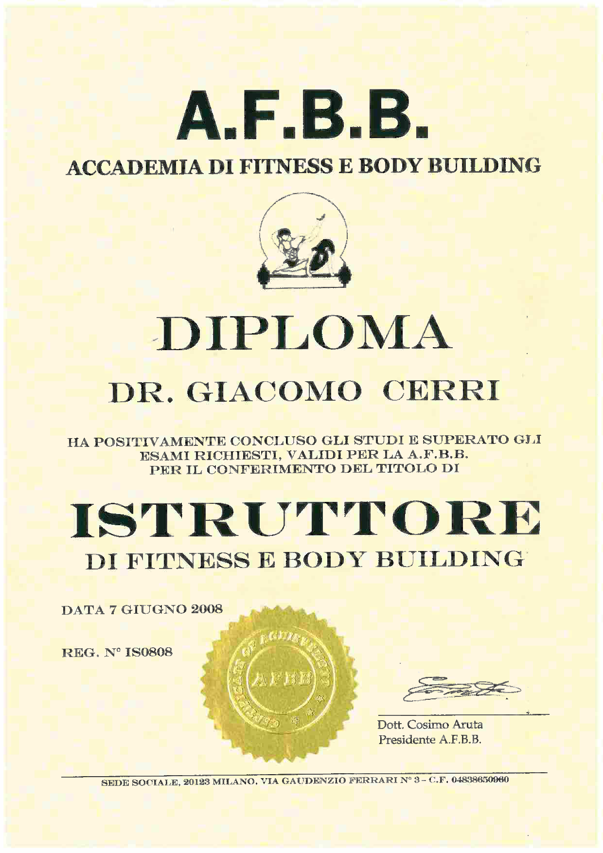 Diploma Istruttore Fitness